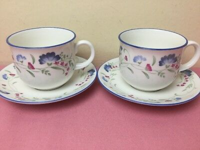 Royal Doulton Expressions Windermere 2 x Tea Cups & Saucers Superb Condition