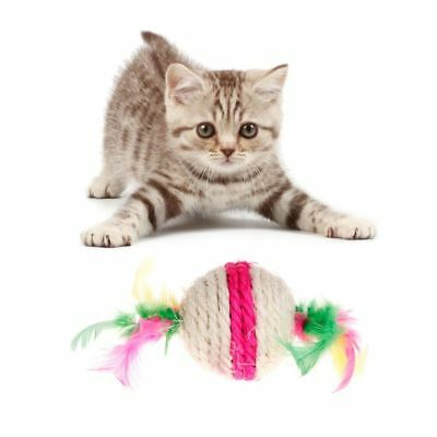 Cat Toys Feather Ball Sisal Pet Dog Puppy Kitten Scratch Toy Play Teaser