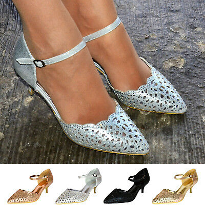 Mid Low Kitten Heel Courts Ladies Sparkly Evening Shoes Party Ankle Strap Pumps