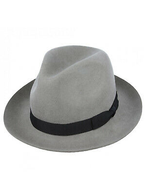 1940s Forties Style Light Grey Pure Wool Felt Mens Fedora Hat Large Brim Trilby