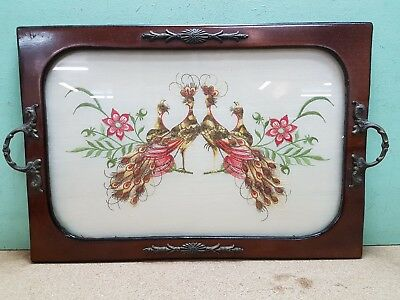Vintage Wooden Coffee Tray With Embroidered Exotic Birds