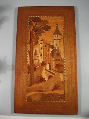 Vintage Inlaid Wood Picture Castle Scene 18'X10""