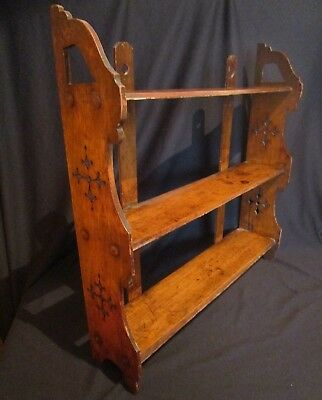 Arts&Crafts Oak Wall Mounted Bookcase,Shelf Kitchen c1910 Original.