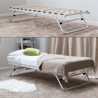 White Metal Single Bed Fold Away Trundle Guest Bed Single Size Mattress Options