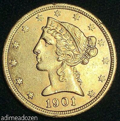 1901/0-S G5$ Liberty Head Gold Five Dollar MINT ERROR JU39381WQ