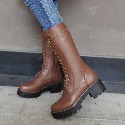 Women Chunky Heel Lace Up Military Combat Mid Calf Boots Platform Side Zip Shoes