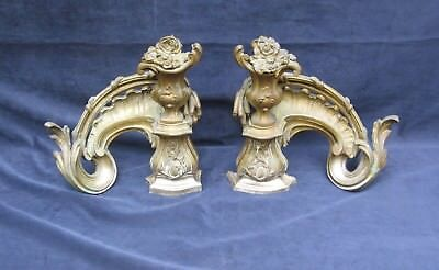 Antique Pair French Louis Xv Rococo Bronze Firedogs / Andirons  19Th Century