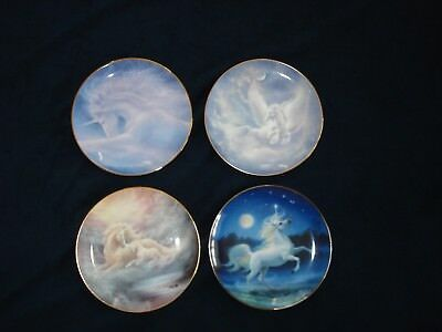 Unicorn Plates, The Hamilton Collection And Franklin Mint , Set Of Four