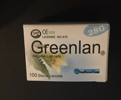 Greenlan 28g Diabetic Needle Lancets x 100 expiry 2020