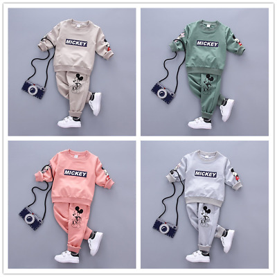 2pcs Toddler Baby Boys Girls MICKEY Outfit Coat Tops+Pants kid Clothes Set