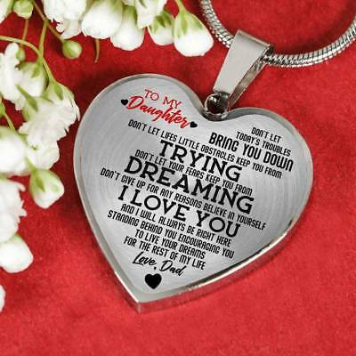 To my Daughter Live Love Dad Luxury Heart Shape Necklace Gift for Daughter