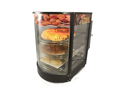 Curved Glass Black Electric Counter Top Heated Display Cabinet / Pie Warmer Uk