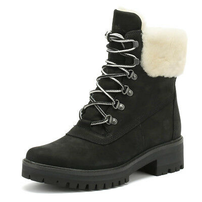 Timberland Courmayeur Valley Womens Boots Shearling Black Ladies WInter Shoes
