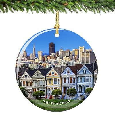 San Francisco Skyline Porcelain Ornament - California Christmas Souvenir Gift