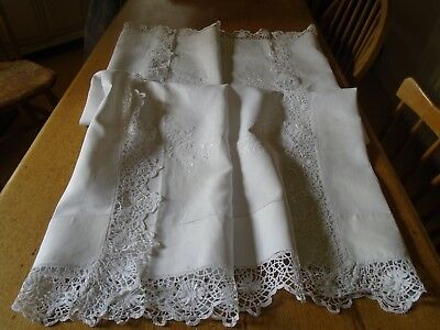 Vintage Hand Embroidered Irish Linen Tablecloth - Cotton Lace Border