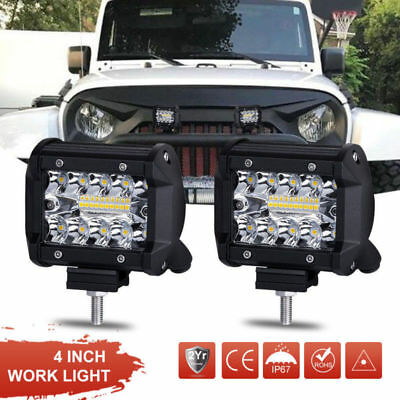 2X 4inch 72W CREE LED Work Light Bars Offroad Spotlight Work Driving Lamp Truck