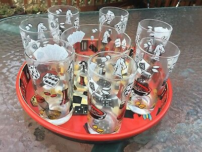 Vintage Barware Set With Ice Bucket, 7 Glasses, With Cards, Dice, Roulette
