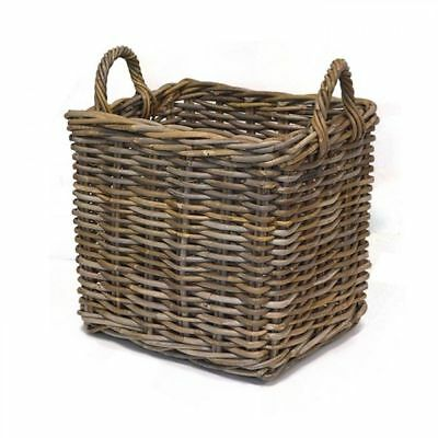 Rectangular Wicker Weave Log Storage Basket with Handle - Medium, Grey
