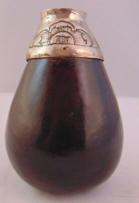 Antique Seed Or Nut Case Vase With White Metal Mount