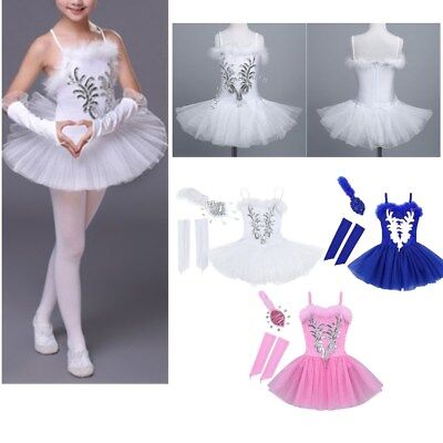 Girls Ballet Tutu Leotard Dance Dress Ballerina Dancewear Sequined Swan Costume