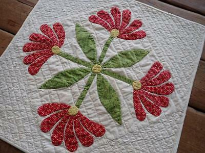 Early c1860 Antique Applique Red & Green Table Doll QUILT Mexican Aztec Rose 16""