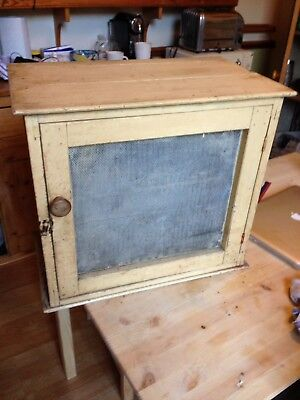 Antique Pine Meat Safe / Cupboard Mesh Sides & Front With Single Shelf