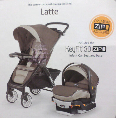 Chicco Bravo LE Trio Travel System Stroller w KeyFit 30 Zip Car Seat Latte New