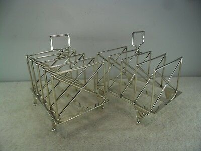 Pair of Late Victorian Solid Silver 5 Bar Toast Racks, London 1886/ 1900