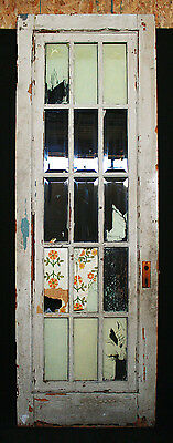"30""x89"" Antique Vintage French Wood Wooden Door Windows 15 Beveled Glass Lites"