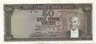 Turkey 50 Lira 1970. Unc - Scarce