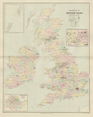 British Isles Parliamentary constituencies. Large 64x51cm. STANFORD 1904 map