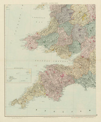 South-west England & South Wales. Large 62x51cm. STANFORD 1887 old antique map