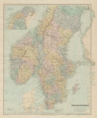 Scandinavia political divisions. Sweden Lims. Norway Amts. STANFORD 1894 map