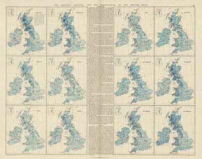 British Isles. Monthly rainfall & air temperature. 61x55cm. STANFORD 1887 map