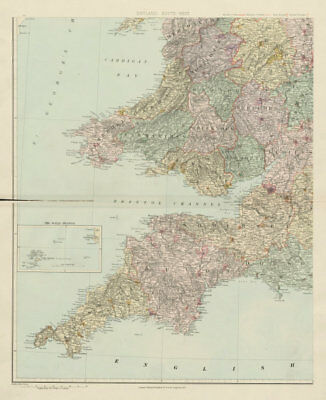 South-west England & South Wales. Large 62x51cm. STANFORD 1904 old antique map