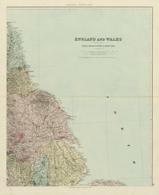 North east England. Tyneside Yorkshire Lincolnshire. 62x51cm STANFORD 1887 map