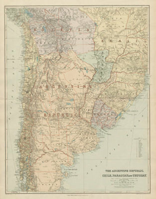 Argentine Republic, Chile, Paraguay & Uruguay. South America. STANFORD 1904 map