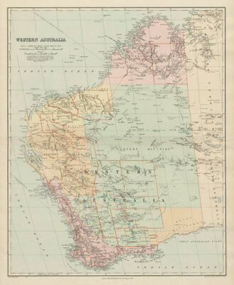 Western Australia. Explorers' routes. Landscape observations. STANFORD 1904 map
