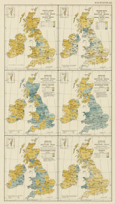 British Isles population death rate diseases contagious TB. STANFORD 1887 map