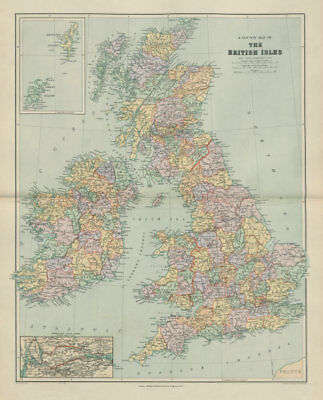 County map of the British Isles. England Ireland Scotland Wales. STANFORD 1904
