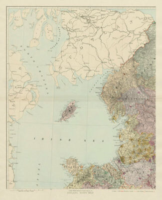 North west England & North Wales. Isle of Man. Large 62x50cm. STANFORD 1904 map