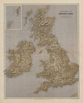 British Isles Stereographical. Mountains rivers. Large 65x52cm STANFORD 1894 map