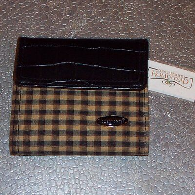 Longaberger Khaki Check SMALL WALLET ~ Brand New from Longaberger Homestead!