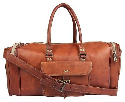 Men's Genuine Leather Light weighted Travel Overnight Luggage Duffle Bag