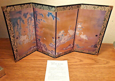 "One NEW KANO MONTONOBU SLIDING SCREEN PAINTING 4 panels  ""Bamboo & Crains #3058"