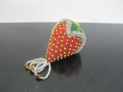 Antique VICTORIAN Beaded Emery STRAWBERRY Repousse Pin Sewing Cushion