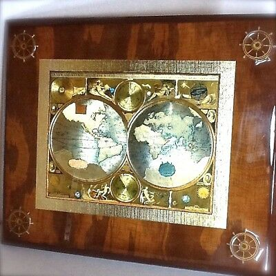 Vintage Old World Map Small Wooden Plaque Handcrafted Gold Foil Wall Art 1626