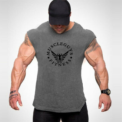 Men's New Fitness Screen Printed Gym Tank Tops Workout Sport Running Mesh Vests