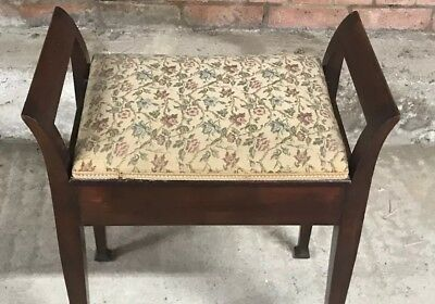 Antique Edwardian Carved Piano Stool, Seat, Music Holder