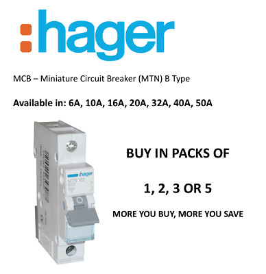 HAGER MCB MTN 6,10,16,20,32,40,50 AMP B TYPE 6KA Single Pole